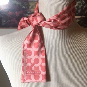 Coach Pink Scarf 100% Silk